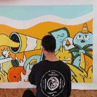 ציור פופ ארט מקורי לחדר שינה של האמן כפיר תג'ר
