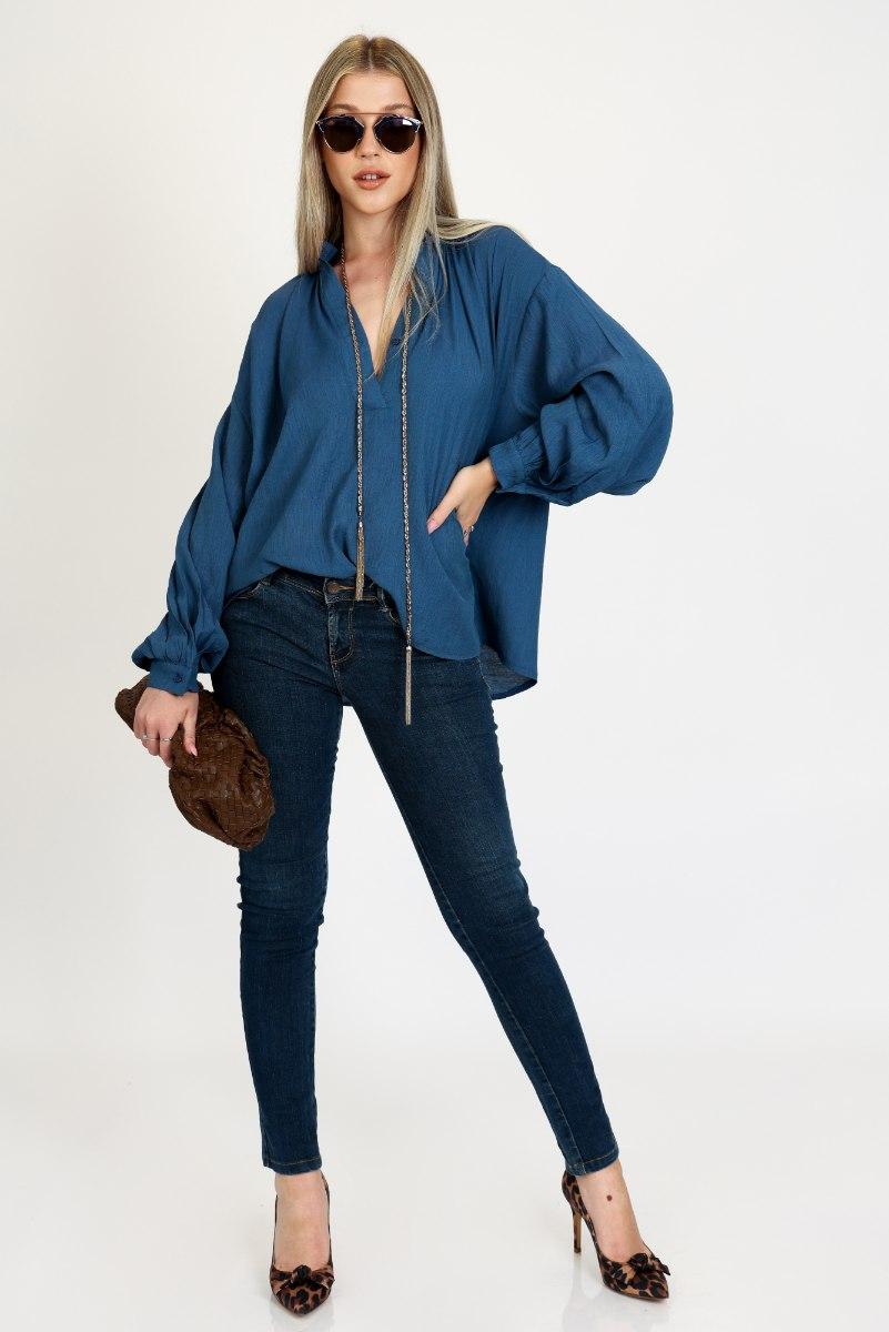 חולצת קרולין  כחול/תכלת פרחוני