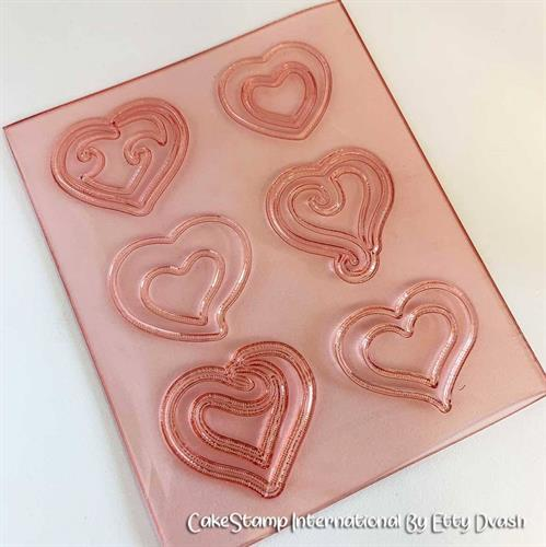Set of six small hearts mold