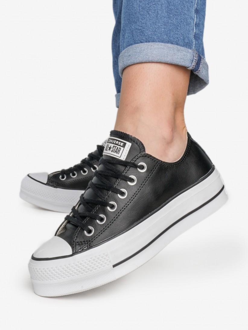 נעלי נשים אולסטאר פלאטפורמה צבע שחור עור דגם 561681c