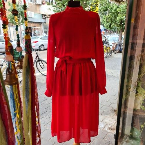 שמלה אדומה יעני צנועה מידה S/M