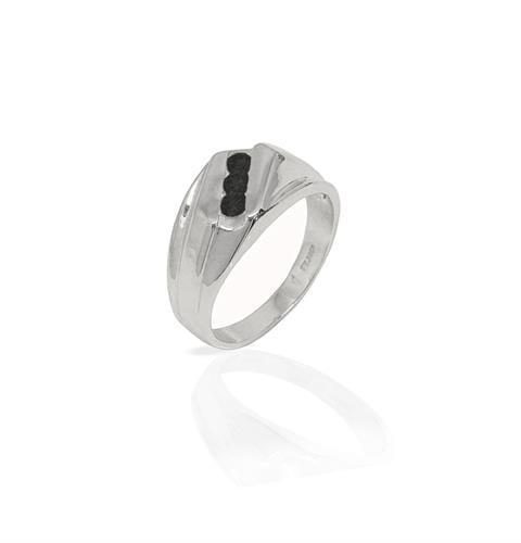טבעת לגבר זהב | טבעת לגבר זהב לבן עם יהלומים שחורים
