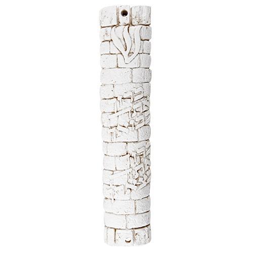 """מזוזת פוליריזן דמוי אבן בגוון לבן 12 ס""""מ """"ברוך בבואך ובצאתך"""" עם פקק גומי"""