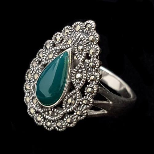 טבעת כסף משובצת מרקזטים ואנן אוניקס ירוקה RG5604 | תכשיטי כסף 925 | טבעות כסף