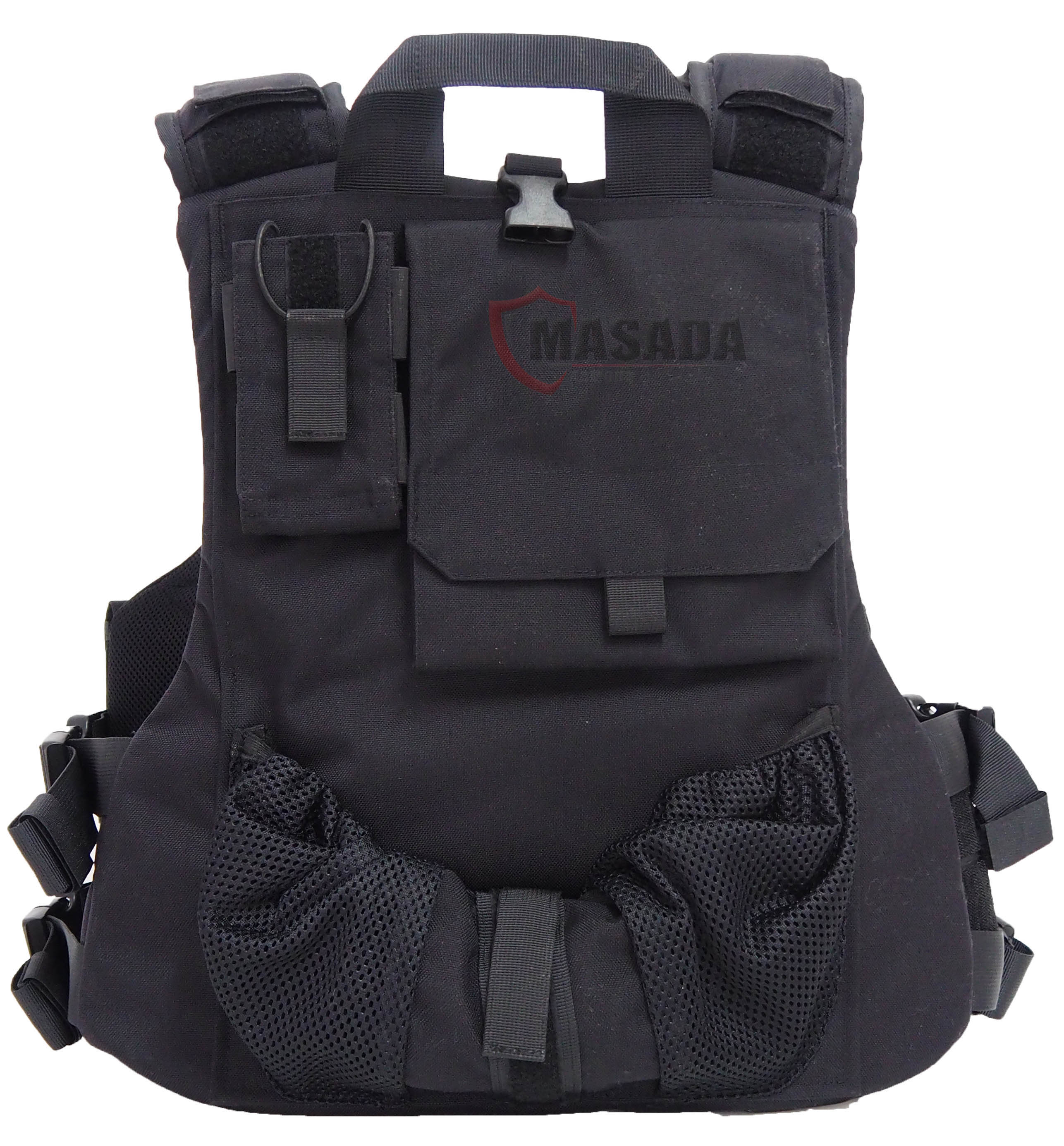 Tactical bulleproof vest with an inner belt - black