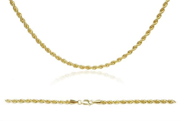 שרשרת זהב חבל  |65 סמ | עובי- 2.0 ממ | 14 קרט