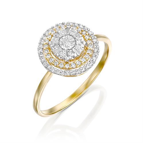 טבעת שירת היהלום משובצת יהלומים בזהב לבן 14 קראט