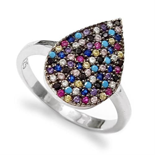 טבעת כסף משובצת אבני זרקון צבעוניות RG1518 | תכשיטי כסף 925 | טבעות כסף