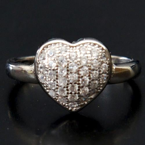 טבעת כסף לב משובצת זרקונים RG5105