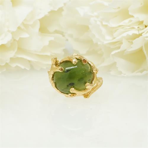 טבעת עם אבן ירוקה אגת טבעית מדהימה