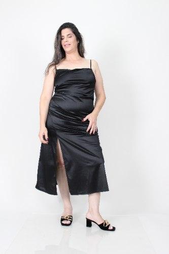 שמלת לייני שחור סאטן