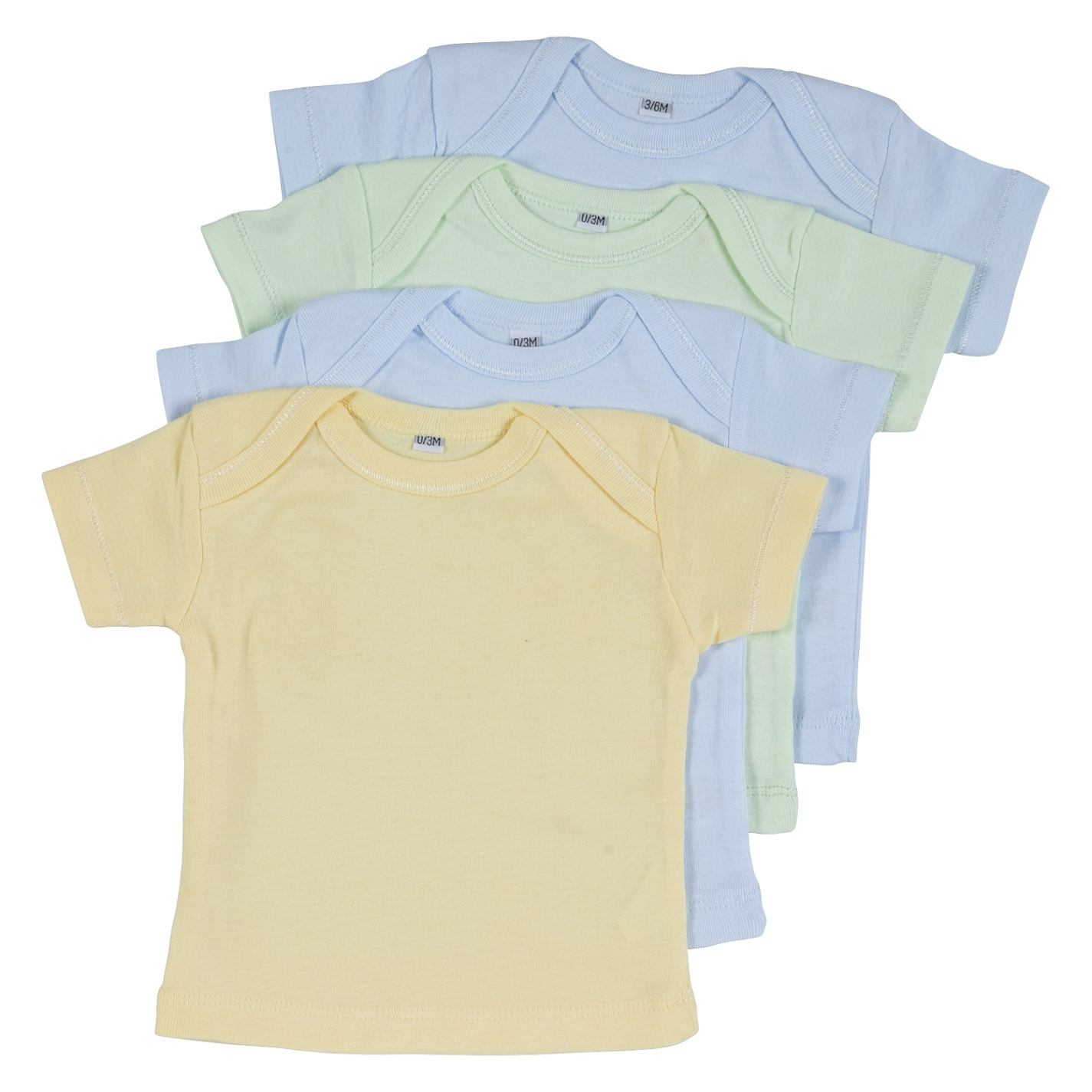 רביעיית חולצות אמריקאיות 2 תכלת-צהוב-ירוק