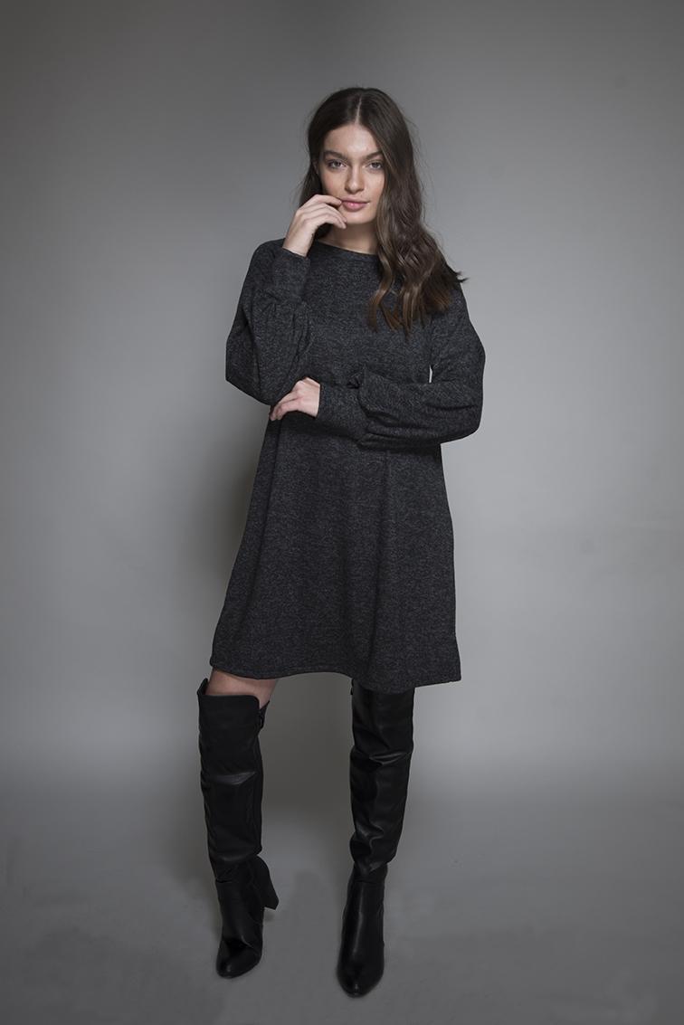 שמלה סנדרה אפור כהה