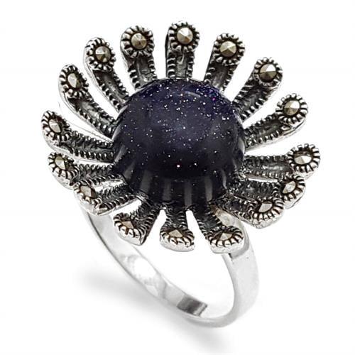 טבעת כסף משובצת אבן בלו סאנסטון ומרקזטים RG8505 | תכשיטי כסף 925 | טבעות כסף