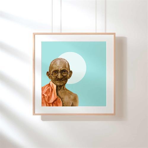 פורטרט של גנדי-הדפס ציור