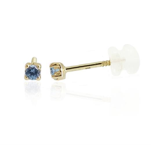 עגילי זהב עם אבן זרקון כחולה