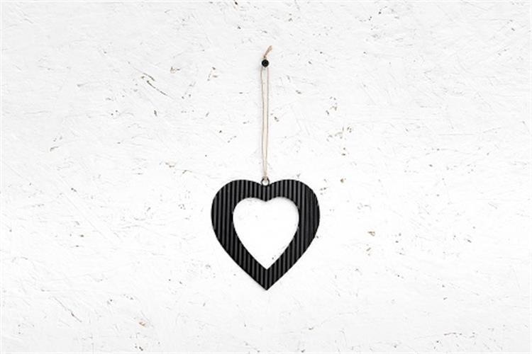 לב פח גלי - שחור