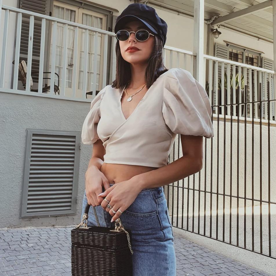 חולצת מעטפת שרוול בלון - ברונזה