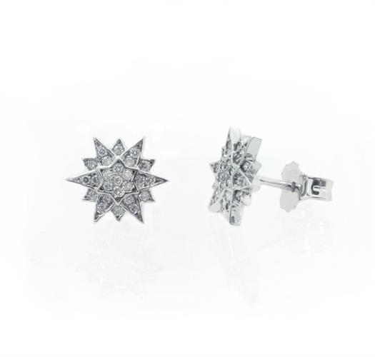 עגילי יהלומים בסגנון כוכב צמודים בזהב 14 קאראט