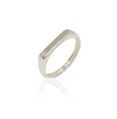 טבעת זהב פלטה מלבנית עם זרקון