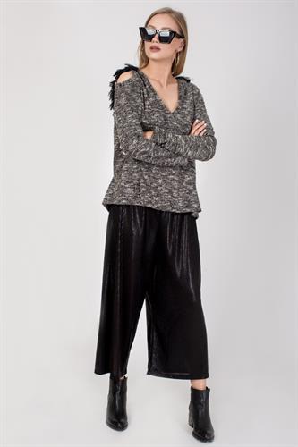 מכנס רחב שחור מטאלי