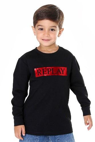 חולצת T שחורה כיתוב אדום REPLAY