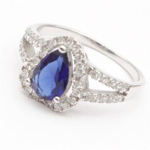 טבעת כסף משובצת אבן ספיר כחול וזרקונים RG7163