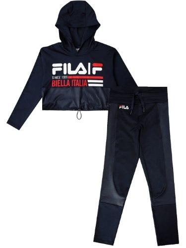 חליפת ניילון כחולה לוגו גדול FILA - מידות 6-16