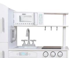 PLK539 - מטבח מעץ לילדים דגם אלרוי בצבע לבן - קפיץ קפוץ