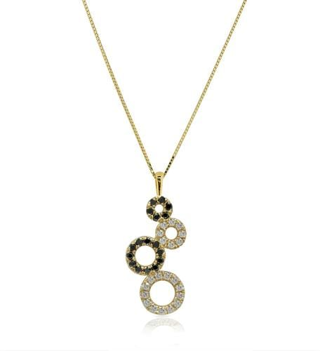 שרשרת ותליון יהלומים שרשרת זהב עיגולי יהלומים שחור לבן