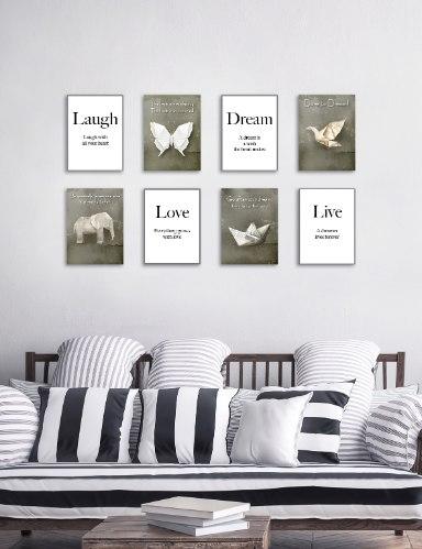 שמיניית תמונות השראה פרפר, פיל, סירה ועגור מקיפולי נייר והמילים חלום, חיים, צחוק ואהבה, דגם 14