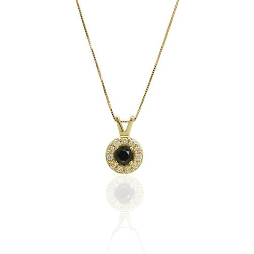 שרשרת ותליון האלו זהב 14 קרט משובצת יהלום שחור ויהלומים