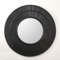 מראה אובלית מסגרת במבוק מגיע בצבע: טבעי / שחור מידות: 81X81X3.5