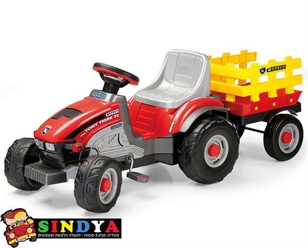 מיני טרקטור פדלים עם עגלה - Peg perego