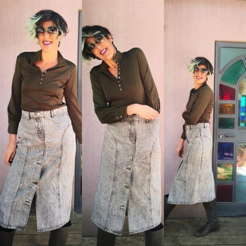 חצאית ג'ינס Stone wash אפורה מידה L