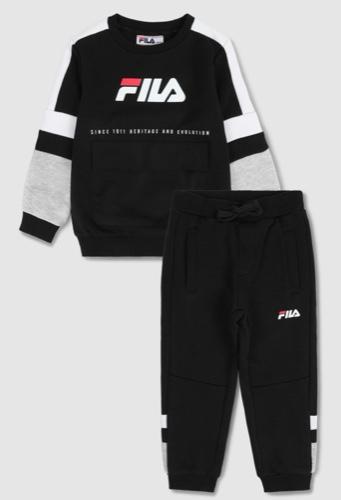 FILA חליפת פוטר עם כיס לוגו שחור אפור מידות 2-8