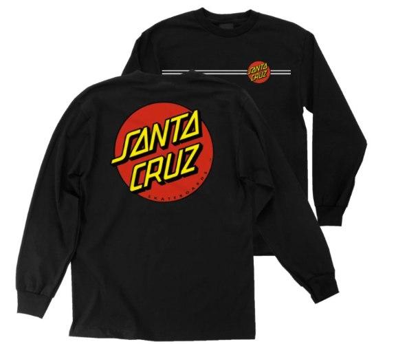SANTA CRUZ Boys Classic Dot LS Regular T Shirt Black
