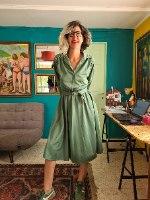 שמלת דיולן (יאמי) ירקרקה יפהפייה מידה L/XL