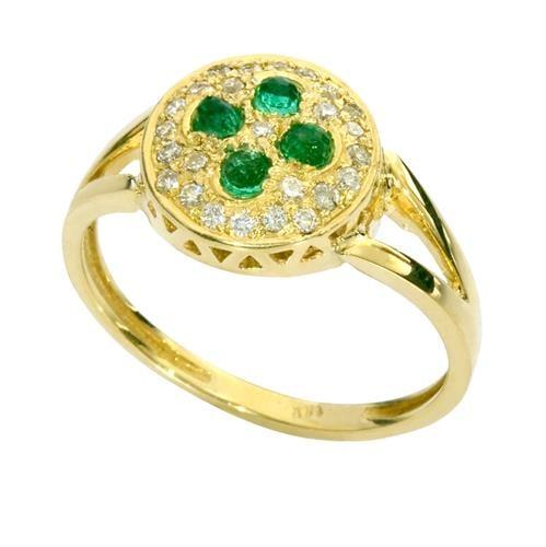 טבעת זהב 14K משובצת אבן אמרלד ויהלומים 0.75 קראט