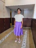 חצאית מניילון יפני - סגול לילך