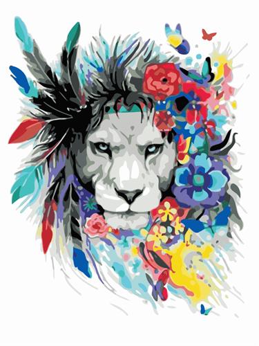 צביעה לפי מספרים - אריה מלך הפרחים