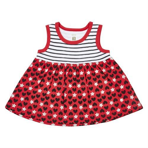 שמלה פסים ולבבות אדום