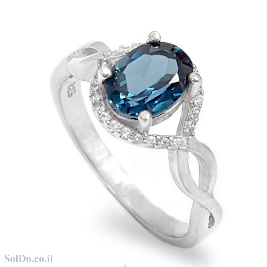 טבעת מכסף משובצת אבן טופז כחולה  וזרקונים RG8725 | תכשיטי כסף 925 | טבעות כסף