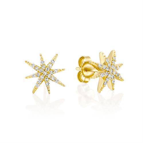עגילי כוכבי האושר משובצים יהלומים בזהב צהוב או לבן 14 קראט