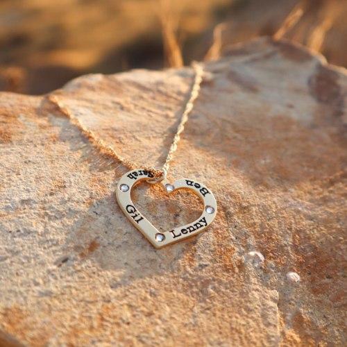 שרשרת לב עם שיבוץ אבנים