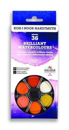צבעי מים גלגל KOHINOOR - סט 36