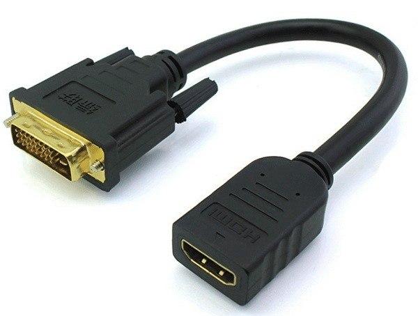 כבל מתאם DVI זכר - HDMI נקבה, 0.15 מטר