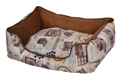 """פטקס מיטה מאויירת לכלב (דגם Vintage) צבע חום במידה 60x50x20 ס""""מ"""