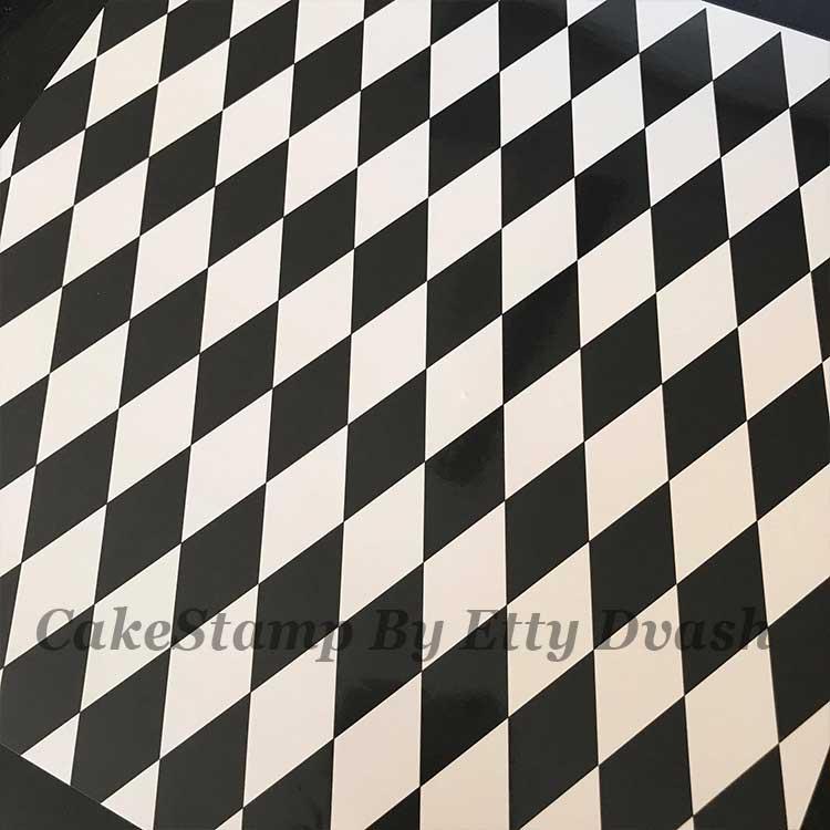 5 יחידות מעוין שחור לבן - טפט חזק ואיכותי לעיטוף משטח עוגה.