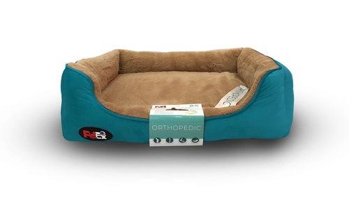 """פטקס – מיטה אורטופדית לכלב בצבע חום וכחול במידה 90x70x8 ס""""מ"""